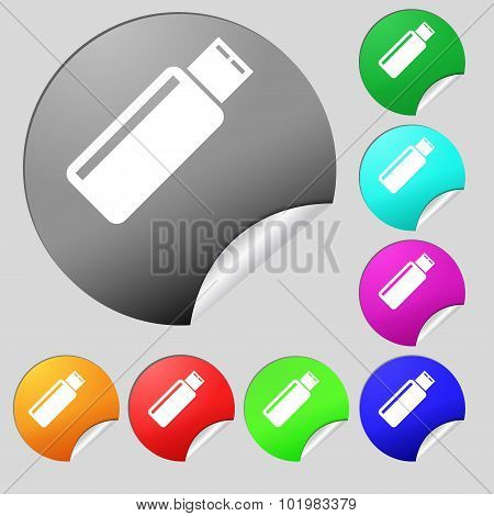 Usb Sign Icon. Flash Drive Stick Symbol. Set Of Eight Multi Colored Round Buttons, Stickers. Vector