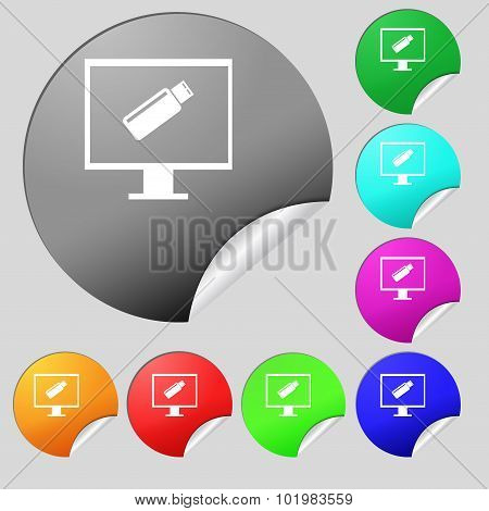 Usb Flash Drive And Monitor Sign Icon. Video Game Symbol. Set Of Eight Multi Colored Round Buttons,