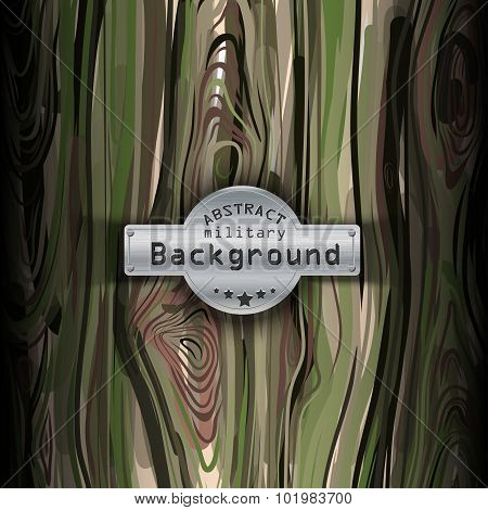 Camouflage military pattern  with wood background. Vector illustration, EPS10