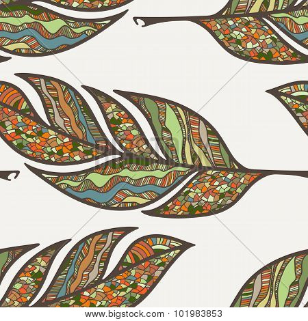 Vector seamless pattern of feathers. Doodle. Zentangle