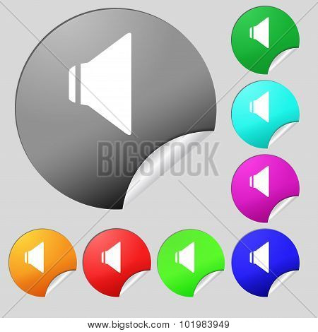 Speaker Volume Sign Icon. Sound Symbol. Set Of Eight Multi Colored Round Buttons, Stickers. Vector