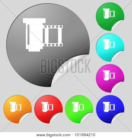 Negative Films Icon Symbol. Set Of Eight Multi Colored Round Buttons, Stickers. Vector
