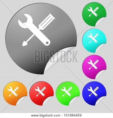 Repair Tool Sign Icon. Service Symbol. Screwdriver With Wrench. Set Of Eight Multi Colored Round But