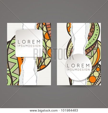 A set of two designs for brochures, leaflets, covers, leaflets, flyers, cards with an elegant and so