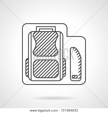School bag with pencils box line vector icon.