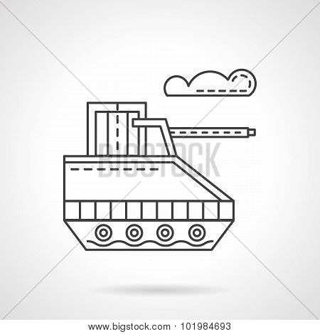 Military robot flat line vector icon