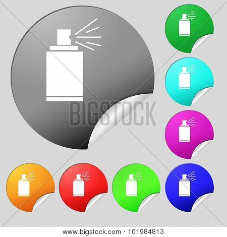 Graffiti Spray Can Sign Icon. Aerosol Paint Symbol. Set Of Eight Multi Colored Round Buttons, Sticke