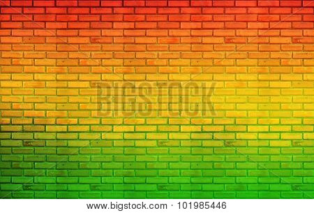 green red yellow brick Wall background (Reggae style)