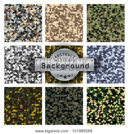 Camouflage military triangle pattern set background. Vector illustration, EPS10