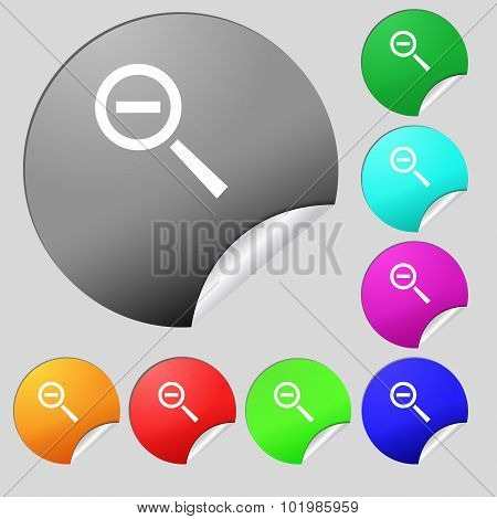 Magnifier Glass, Zoom Tool Icon Sign. Set Of Eight Multi Colored Round Buttons, Stickers. Vector