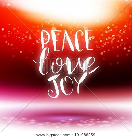 Vector Calligraphy Peace, Love, Joy