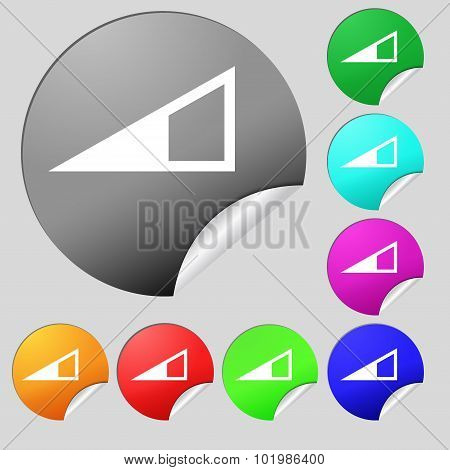Speaker Volume Icon Sign. Set Of Eight Multi Colored Round Buttons, Stickers. Vector