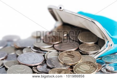 Blue Purse And Coins Isolated On White Background