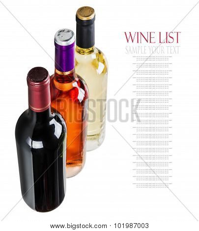 Different Varieties Of Wine Bottles On A White