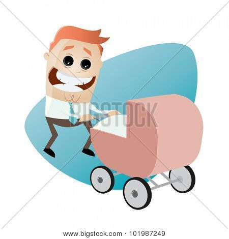 happy father with pram, baby carriage, baby buggy