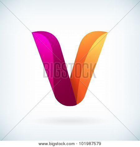 Modern Twisted Letter V