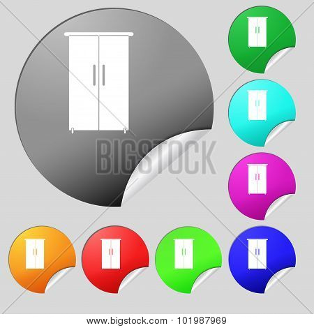 Cupboard Icon Sign. Set Of Eight Multi Colored Round Buttons, Stickers. Vector