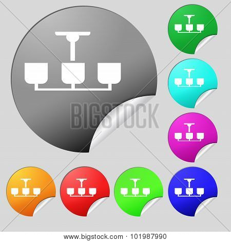 Chandelier Light Lamp Icon Sign. Set Of Eight Multi Colored Round Buttons, Stickers. Vector