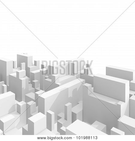 Abstract 3D Cityscape Over White Background
