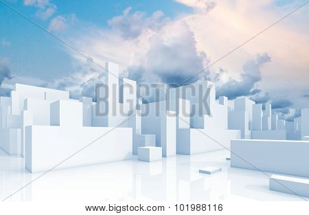 Abstract White Schematic 3D Cityscape And Sky