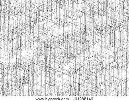 Digital 3D Background With Black Wire Frame Lines