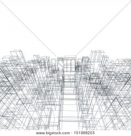 3D Structure, Wire Frame Lines Over White