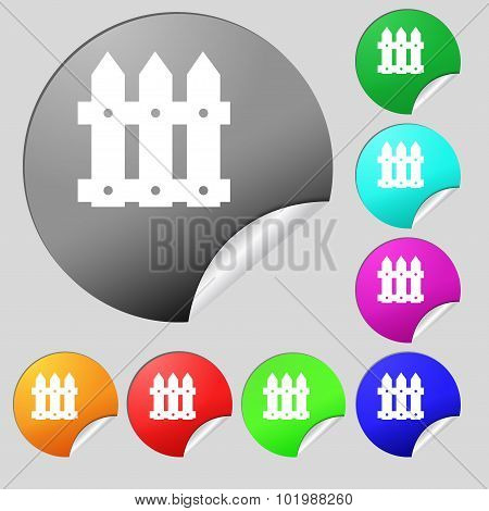Fence Icon Sign. Set Of Eight Multi Colored Round Buttons, Stickers. Vector
