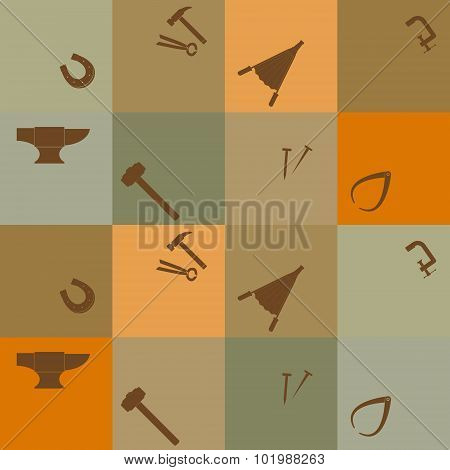 Seamless background with blacksmith tools