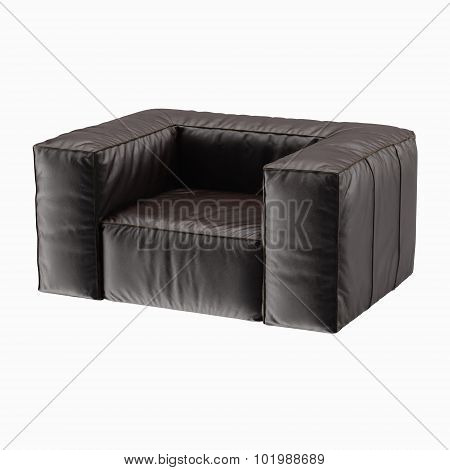 Armchair brown leather on white backgraund