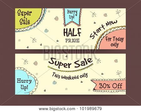 Super Sale website header or banner set with discount offer for limited time.