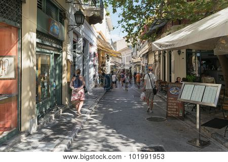 Athens, Greece 13 September 2015. Monastiraki famous local street with tourists shopping