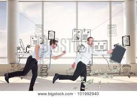 Running businessman against doodle office with beside window