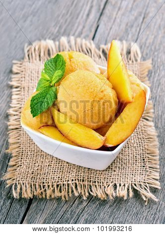 Peach sorbet with mint
