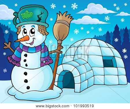 Igloo with snowman theme 2 - eps10 vector illustration.