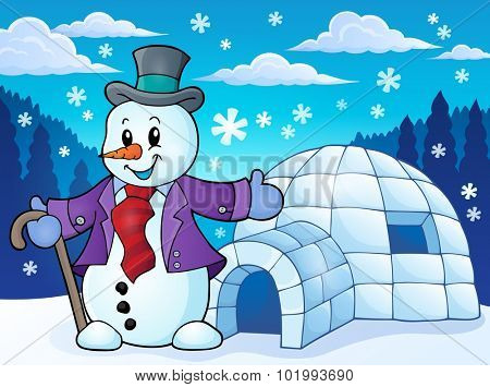 Igloo with snowman theme 1 - eps10 vector illustration.
