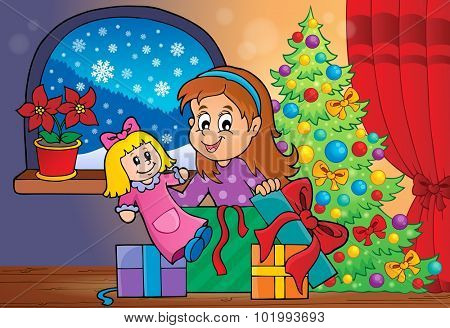Girl unpacking Christmas gifts theme 2 - eps10 vector illustration.