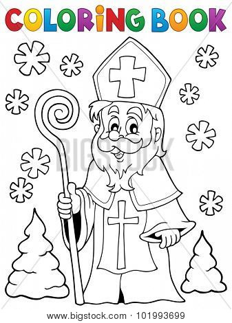 Coloring book Saint Nicolas theme 1 - eps10 vector illustration.