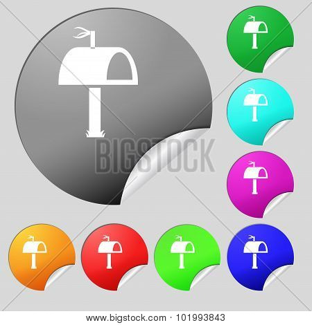 Mailbox Icon Sign. Set Of Eight Multi Colored Round Buttons, Stickers. Vector