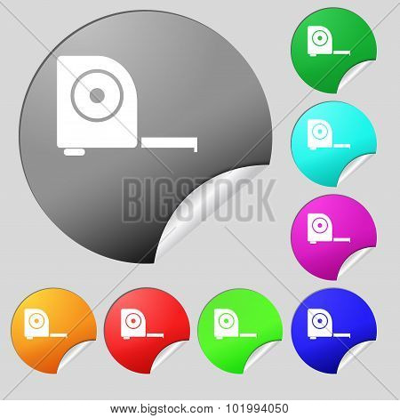 Roulette Construction Icon Sign. Set Of Eight Multi Colored Round Buttons, Stickers. Vector