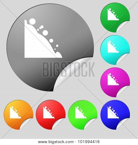 Rockfall Icon. Set Of Eight Multi Colored Round Buttons, Stickers. Vector