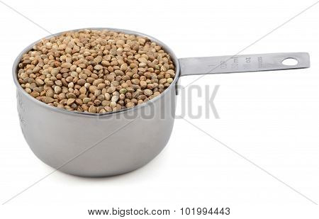 Hemp Seeds In A Measuring Cup