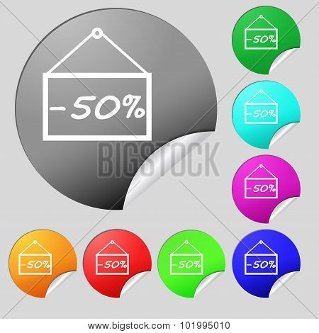 50 Discount Icon Sign. Set Of Eight Multi Colored Round Buttons, Stickers. Vector