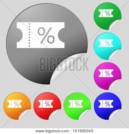 Ticket Discount Icon Sign. Set Of Eight Multi Colored Round Buttons, Stickers. Vector