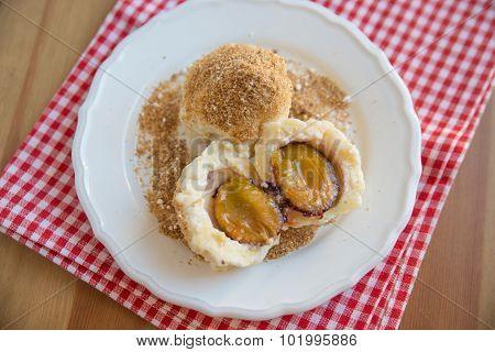 Sweet dumplings filled with plum