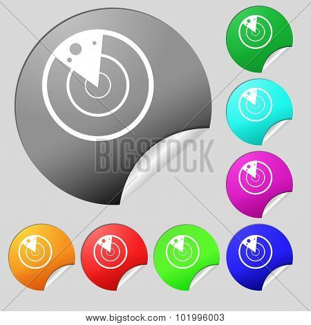 Radar Icon Sign. Set Of Eight Multi Colored Round Buttons, Stickers. Vector