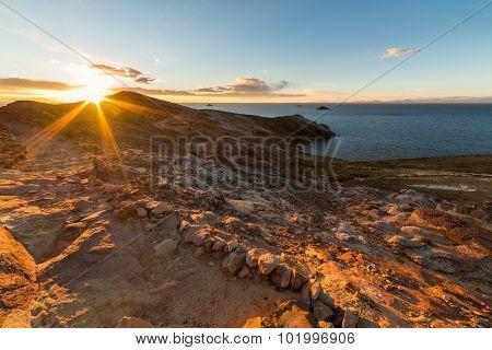 Setting Sun On Titicaca Lake, Island Of The Sun, Bolivia