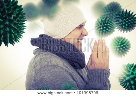 Casual man about to sneeze against virus