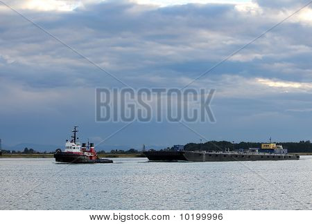 Fraser River Tug Boat and Barge