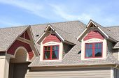 stock photo of gabled dormer window  - Gable Dormers and Roof of Residential House - JPG