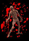 stock photo of festering  - A horrible walking zombie with added blood - JPG